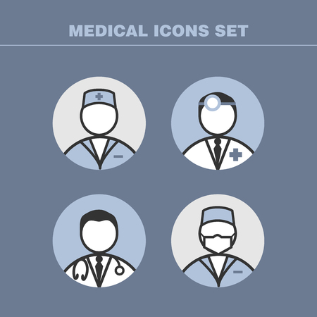 internist: A set of vector doctors icons