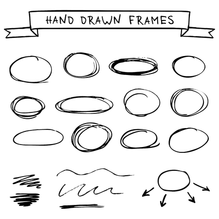 black circle: Set of frames scribble circles isolated on a white background