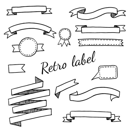 vintage objects: A set of  vintage labels and ribbons Illustration