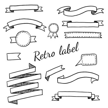 vintage texture: A set of  vintage labels and ribbons Illustration