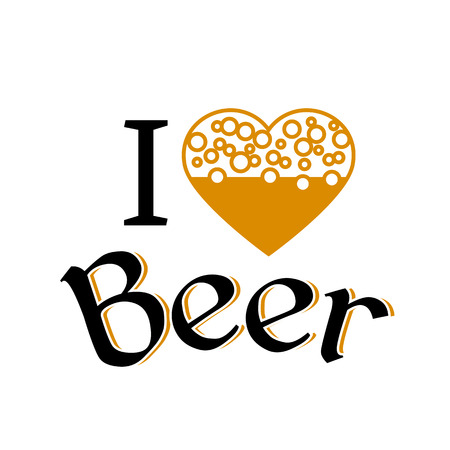 love image: I love beer image. Font type with heart icon Illustration
