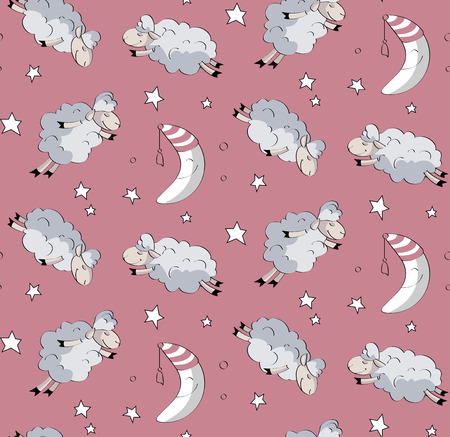 lamb cartoon: Seamless baby pattern with flying sheep and the moon