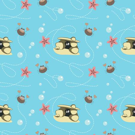 moray: Seamless pattern. Marine crabs and starfish