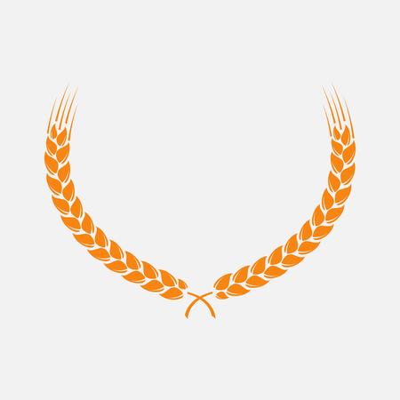 bran: Wreath of wheat ears. design elements