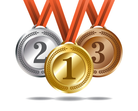 gold silver bronze: Medals and ribbons for the winners. Gold, silver and bronze colors. Illustration