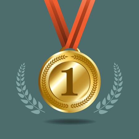 winner: medalla de oro con corona para el ganador. elemento de diseño