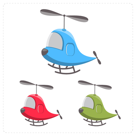 aerospace: Set of cartoon helicopter isolated on a white background