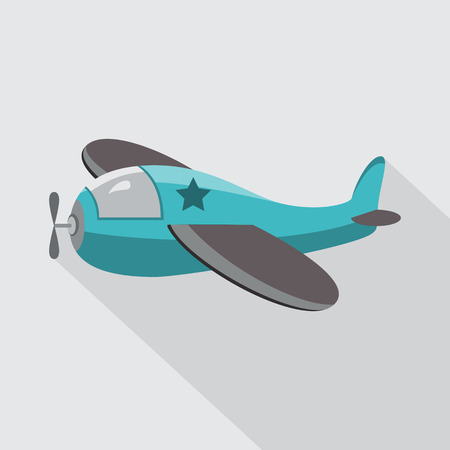 wings icon: Cartoon military airplane. Flat icon