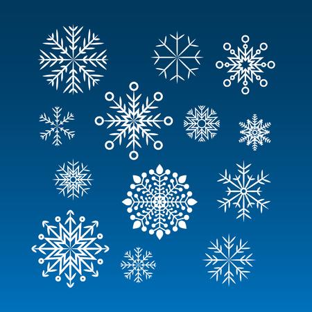 blue snowflakes: Set of  white snowflakes on a blue background Illustration