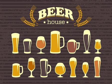 Un conjunto de vasos de cerveza y los iconos tazas de cerveza. Estilo vintage. Un cartel y un menú de bar. Elementos de diseño vectorial para la impresión y web