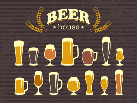 Un set di bicchieri di birra e icone boccali di birra. Stile vintage. Un poster e un menù da bar. Elementi di design vettoriale per la stampa e web