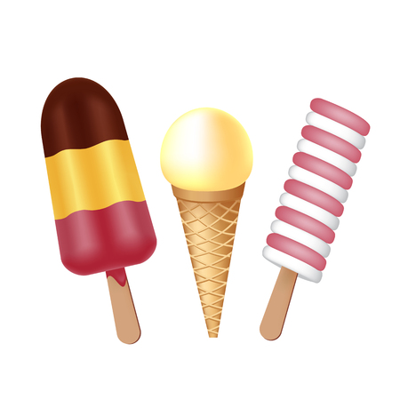 Ice cream collection. Delicious popsicle and waffle cup ice cream