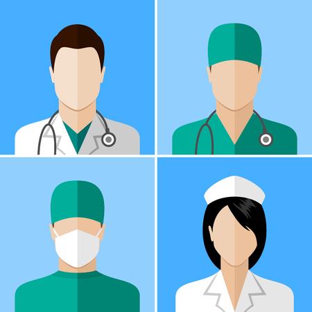 Doctor y enfermera iconos. colección de diseño de estilo plano