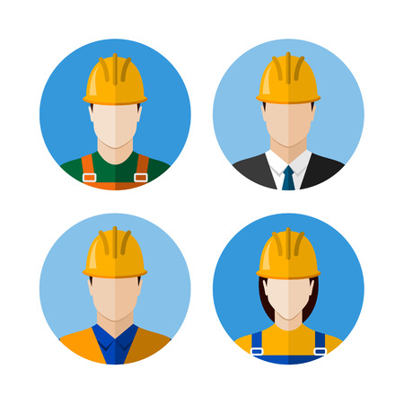 builder: Set of builders avatars. Construction workers. Circle flat style icons. Vector illustration