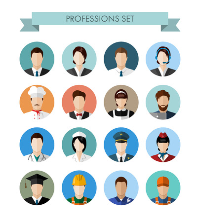 A set of professions people. Circle flat style icons. Occupation avatars. Business, medical, web, call center operator, workers. Vector illustration