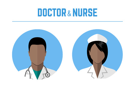 Medical icons. Doctor and nurse of african american ethnic people avatars. Flat style design