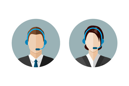 phone support: Call center operator icons. Man and woman with a headset. Customer support. Client services and communication,  phone assistance. Web icon, flat style vector illustration
