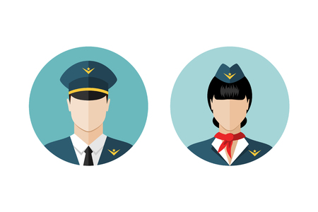 airline pilot: Pilot and stewardess icons. Flat design style