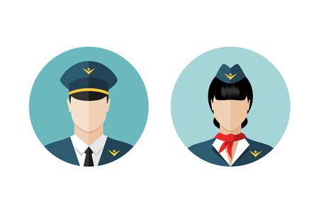 piloto de avion: Piloto y azafata iconos. estilo de diseño plano