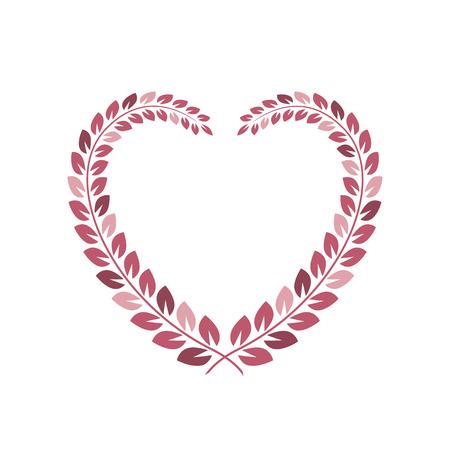 Floral wreath in heart shape frame. Floral border. Vector design element for wedding card and valentine day Illusztráció