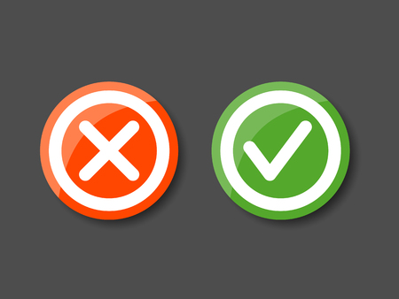 approved sign: Set of check mark icons. Tick and cross  icons in circle Illustration