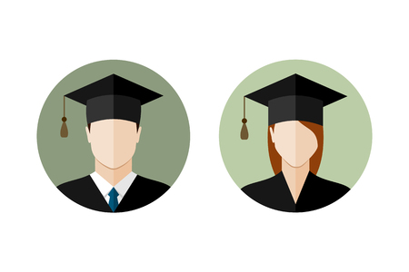 college student: Male and female student icons. Set of college or university graduation students. Flat style design