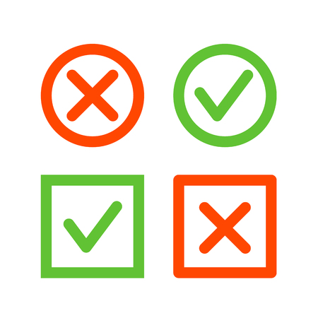 check icon: Set of check mark icons. Tick and cross line icons in circle and square shape