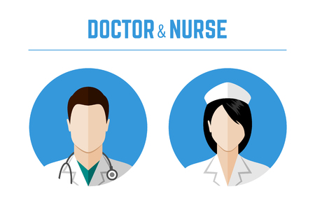 Medical icons. Doctor and nurse avatars. Flat style design Illusztráció