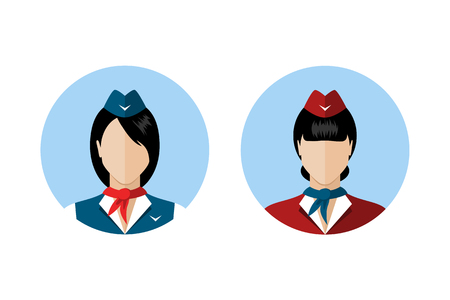airplane ticket: Set of stewardess avatars. Stewardess in uniforms of different colors. Flat style design