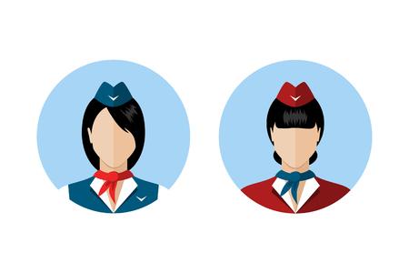 cartoon work: Set of stewardess avatars. Stewardess in uniforms of different colors. Flat style design