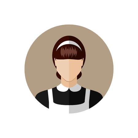 cleaning lady: Hotel maid avatar.Cleaning woman icon. Flat style design