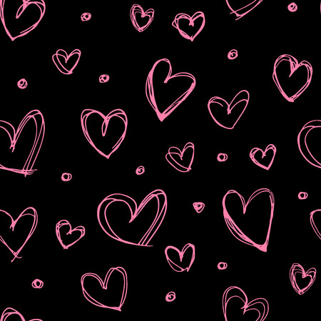 Seamless hand drawn heart pattern. Valentine's Day pattern. Scribble pink hearts on a black background Vectores
