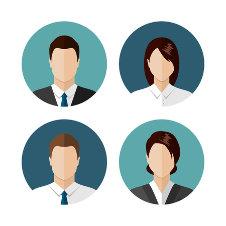 woman tie: Business people icons isolated on white background. Circle avatar collection. Modern flat style design