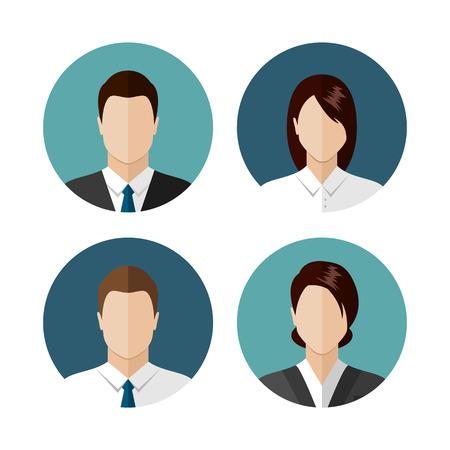 Ludzie biznesu ikony samodzielnie na białym tle. Koło kolekcji awatar. Nowoczesny styl płaska Ilustracje wektorowe