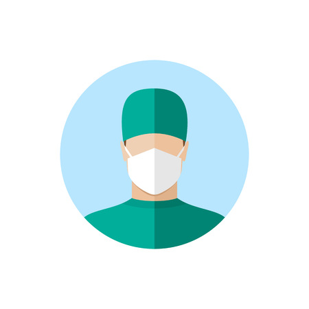 operation theatre: Doctor in mask. Flat style design icon