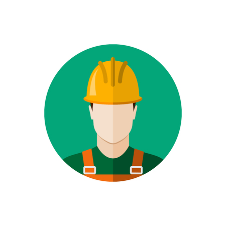 protective wear: Builder construction worker in protective wear and helmet. Flat design vector illustration