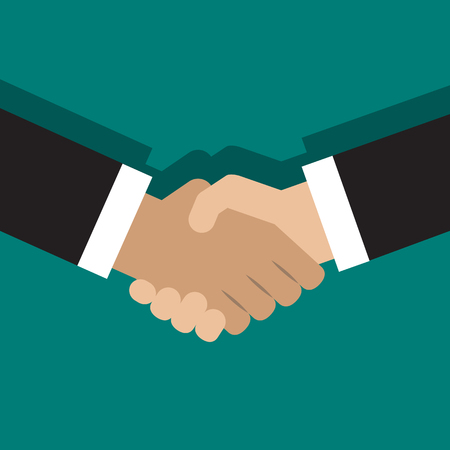 welcome business: Vector illustration of handshake. Flat style design