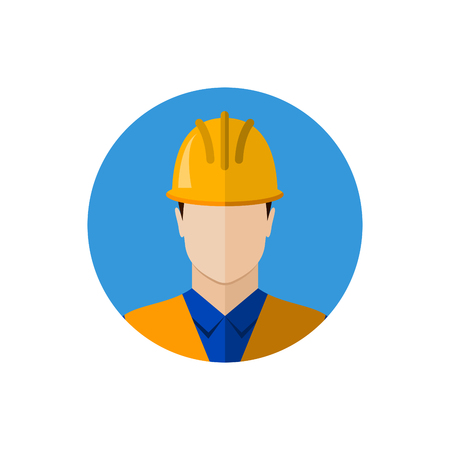 protective wear: Builder construction worker in protective wear and helmet. Builder icon. Builder avatar. Flat design vector illustration