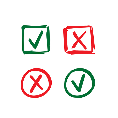 Set of hand-drawn check mark icons. Tick and cross in circle and square frame