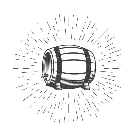 Legno botte di vino birra isolato su uno sfondo bianco. Birra icona barile. I raggi di luce di scoppio. illustrazione stile vintage