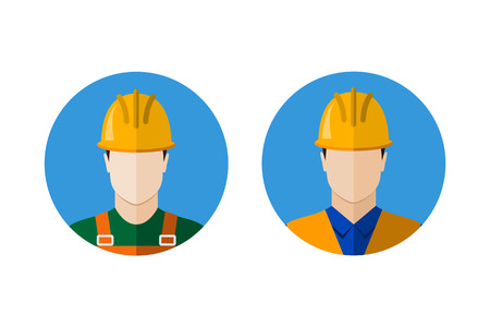 coverall: Set of builders avatars. Construction workers. Circle flat style icons Illustration