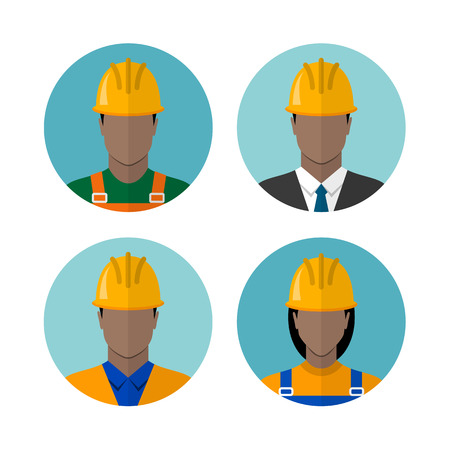 coverall: Set of builders avatars isolated on a white background. Construction workers. African american ethnic people avatars. Circle flat style icons