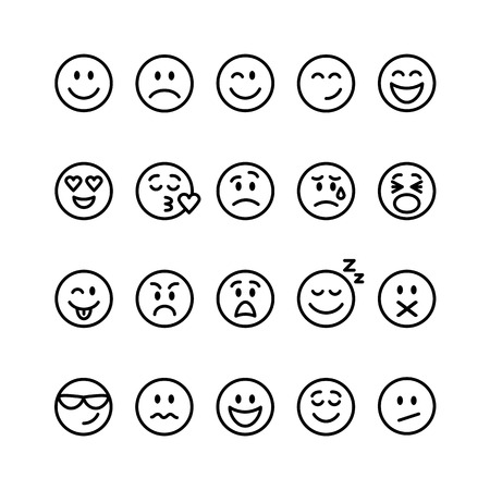 white smile: Set of thin line smile emoticons isolated on a white background. Vector illustration