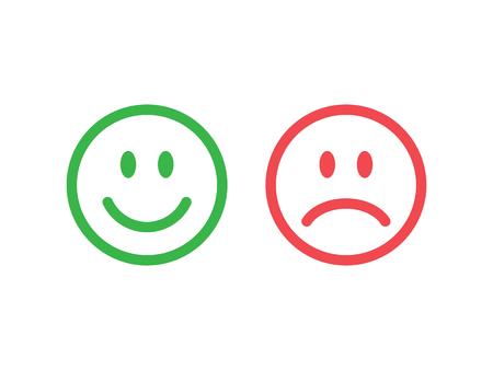 cara triste: Conjunto de iconos gestuales sonrisa. Línea iconos emoticonos. emoticonos felices e infelices. El color verde y rojo. ilustración vectorial Vectores