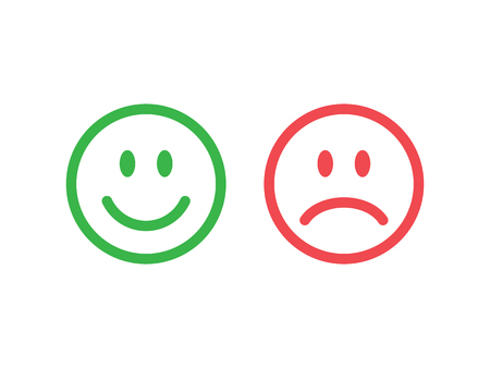 Set of smile emoticons. Line icons emoticons. Happy and unhappy smileys. Green and red color. Vector illustration Ilustração