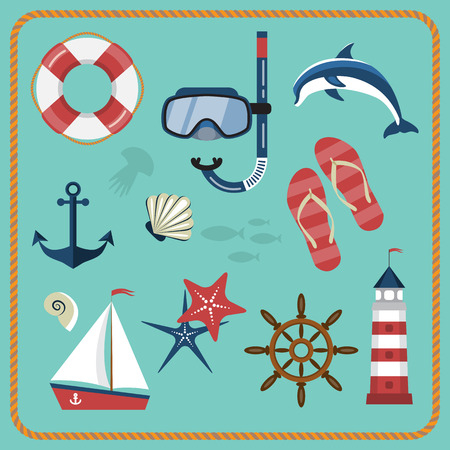 snorkelling: Vector set of nautical and marine icons. Different sea objects. Flat style vector illustration