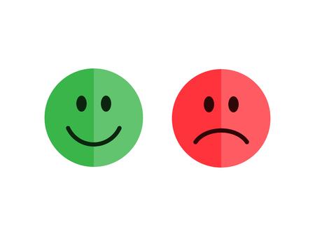 Set auf einem weißen Hintergrund Emoticons. Wohnung Stil Emoticons. Glücklich und unglücklich Smileys. Grüne und rote Farbe. Wohnung Stil Vektor-Illustration