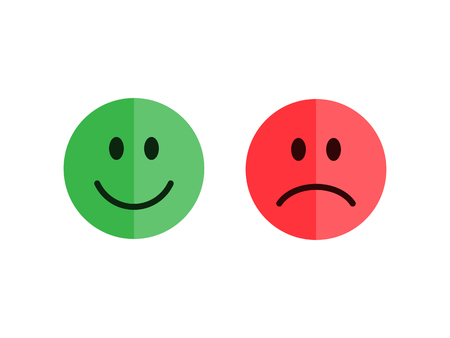 Set of emoticons isolated on a white background. Flat style emoticons. Happy and unhappy smileys. Green and red color. Flat style vector illustration