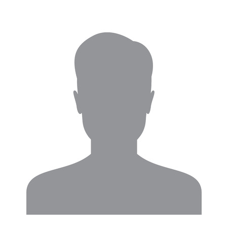 Male user icon isolated on a white background. Account avatar for web. User profile picture. Unknown male person silhouette Vettoriali