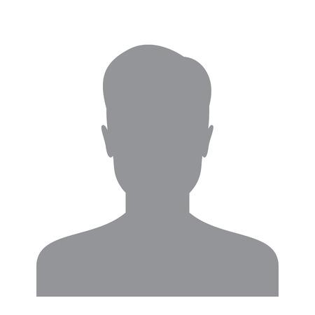 Man gebruiker pictogram geïsoleerd op een witte achtergrond. Account avatar voor web. Gebruikers profielfoto. Onbekende mannelijke persoon silhouet